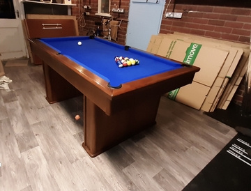6ft Pool Table Diner recovered with Blue cloth