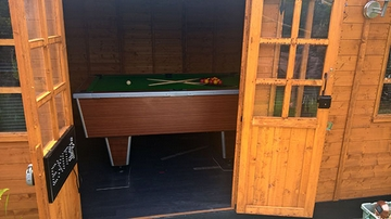 6ft pool table fitted in a shed