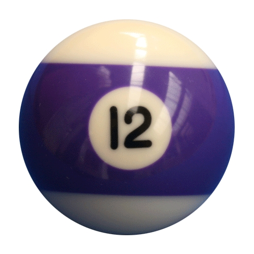 single number 12 pool ball